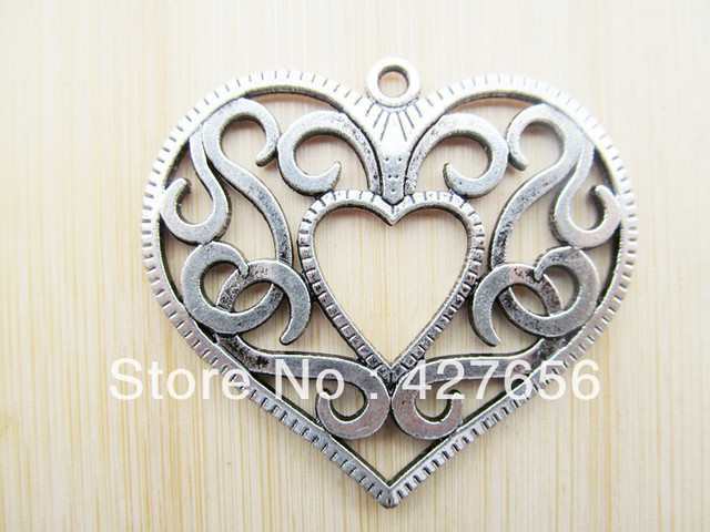 5pcs Large Heavy Good Quality Antique Silver tone Filigree Hollow Heart Pendant Charm/Finding,DIY Accessory Jewelry Making