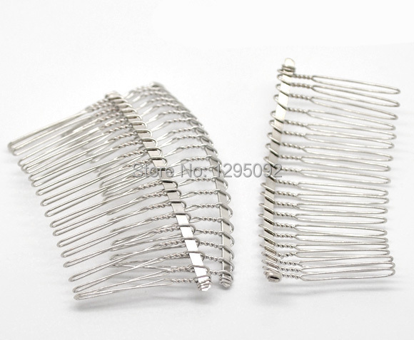 """10Pcs Silver Tone Comb Shape Hair Clips Barrettes Jewelry Findings Charms Wholesale 7.8x3.8cm(3-1/8""""x1-1/2"""")"""