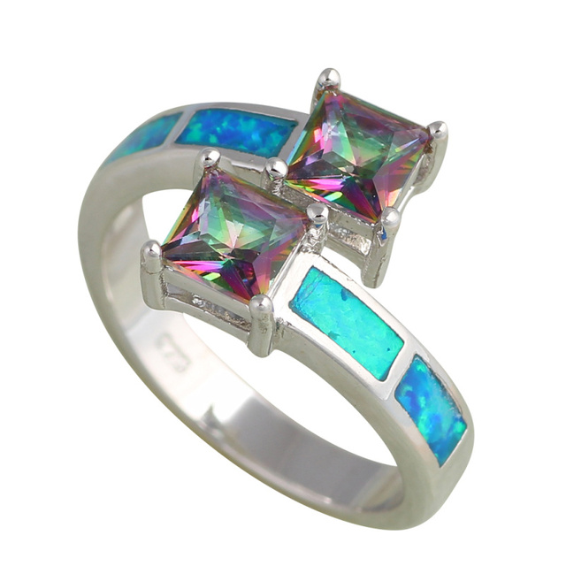 Appealing two Rainbow Zircon squares design Blue fire Opal Silver Stamped fashion jewelry Rings for women USA sz #6#7#8#9 OR646A
