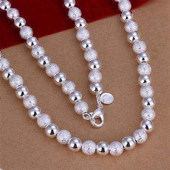 """8mm 18"""" ST925 Sterling Silver Husky&grazy Solid Beaded Necklace Jewelry Wholesale Free shipping"""