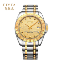 Fiyta Brand Men's Mechanical Watch - Luxury Designed Plated-gold Dial Stainless Steel Male Wristwatch With Calendar GJ066.TGT