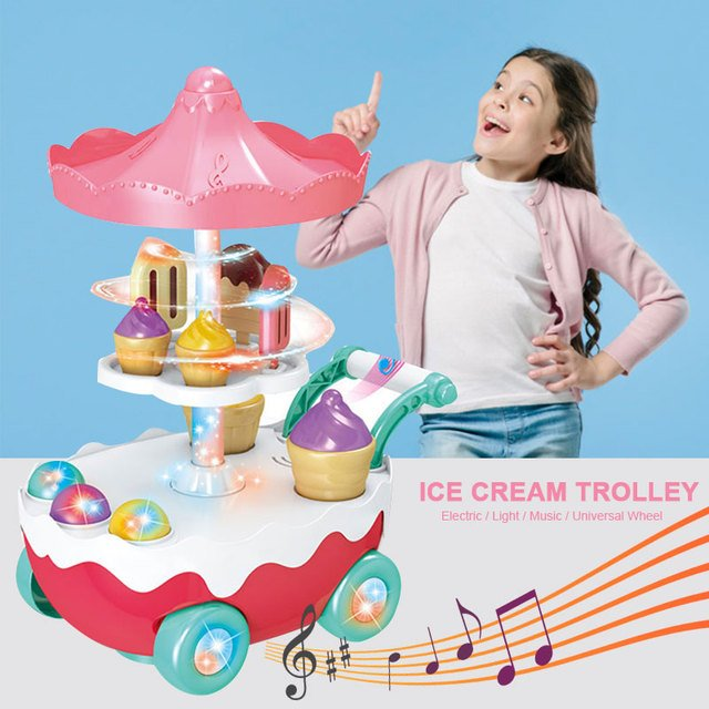 Music Trolley Toy Music Ice Cream Play House Kids Toys Plastic Multicolor LED Rotating Multi-Function kid gift Novelty Game toys