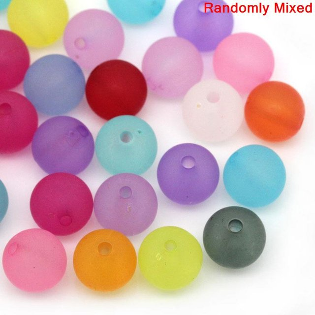 DoreenBeads Acrylic Spacer Beads Mixed Frosted 10mm Dia,Hole:Approx 1.6mm,200PCs (B25747), yiwu