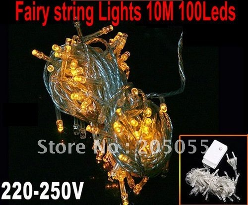 10M/32FT 100 LED  Wedding Party Christmas tree Fairy String Lights LED STRING XMAS Holiday decoration with Tail plug- Yellow