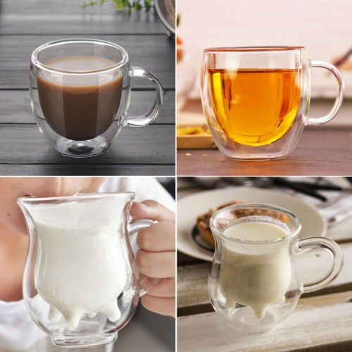 250ML Double Wall Transparent Coffee Glass Mug Cups Insulate Home Office Tea Mug