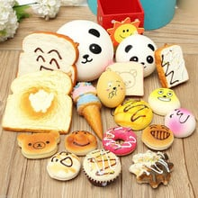 10pcs/Lot DIY Soft Funny Squishy Charm Slow Rising Jumbo Squeeze Toast Cake Bread Panda Ice Cream Decoration Toys For Children