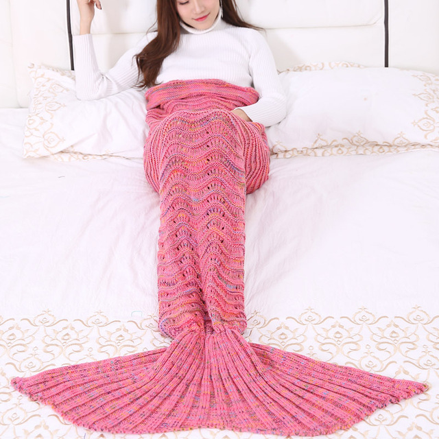 6 Colors 3 Sizes Solid Color Mermaid Tail Blanket Polyester Household Blanket For Spring Autumn Winter Knitted Blanket