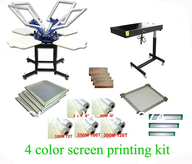 FAST FREE shipping! Hot Big Discount 4 color 4 station silk screen printing kit with flash dryer t-shirt printer stretched frame
