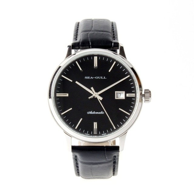 Seagull Genuine Leather Band ST2130 Movement 3 Hands Exhibition Back Automatic Men's Watch Sea-gull D101 Black Dial