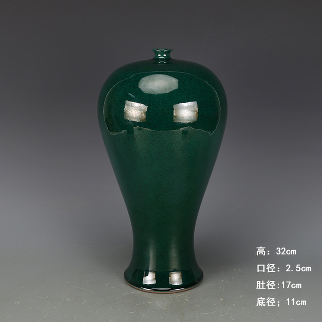 antique QingDynasty porcelain vase,Green Glazed  Bottle,Hand-painted crafts,Decoration,collection &Adornment,Free shipping