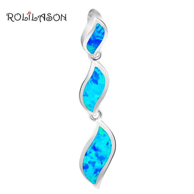New Arrival lots sale Blue Fire Opal Plant Styles Necklaces Pendants Silver Stamped Fashion jewelry OP292