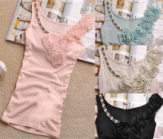Warehouse Clearance Hot Sale!!! Factory direct 8 colors Fashion lady's high quality beaded tank top with lace - T007