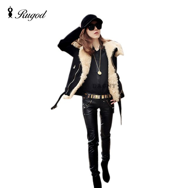 New 2018 Autumn and Winer motorcycle jacket berber fleece short design large lapel fur collar cotton-padded jacket outerwear
