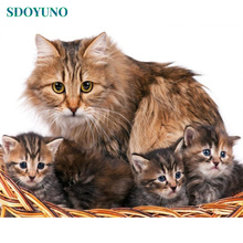 SDOYUNO DIY Oil Painting By Numbers Cat Animals 60x75cm Paint By Number Canvas Painting Kits Frame Home Decor Wall Art Gift