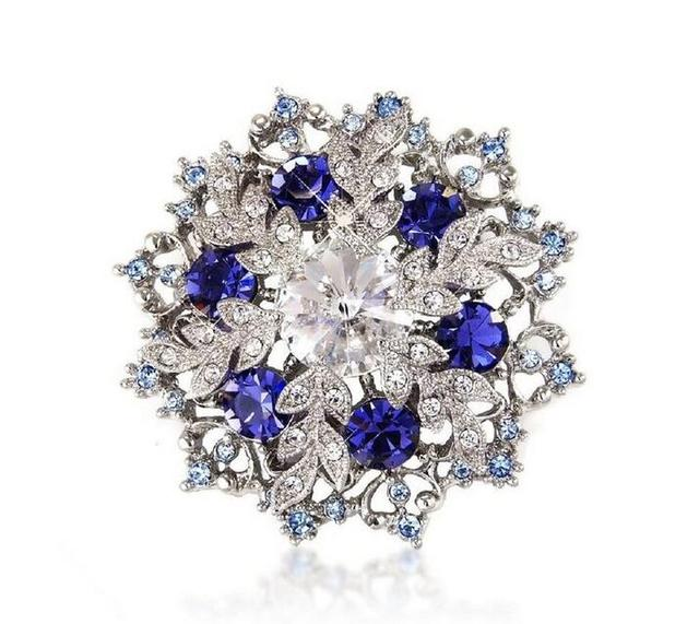 "2"" Vintage Style Rhodium Silver Tone Blue Rhinestone Crystal Diamante Snowflake and Wreath Brooch"