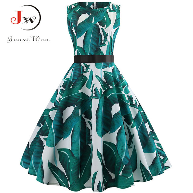 Summer Vintage Dress Women Sexy 50s 60s Floral Print Sleeveless Retro Swing Dresses Casual A-Line Elegant Party Dress