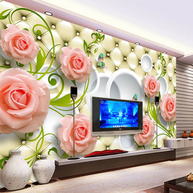 3D Stereo Relief Soft Pack Flowers Photo Wallpaper Living Room TV Sofa Backdrop Wall Home Decor Modern Simple Non-Woven 3D Mural