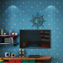 Children's Room Non-woven Wallpaper For Kids Room Moon And The Stars Blue Boys Girls Bedroom Wall Decoration Wallpaper Roll 3D