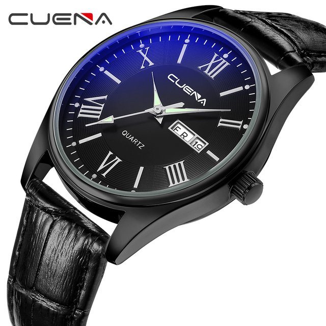 CUENA Quartz Watches Men Luminous Hands Week Display Calendar Genuine Wristwatches Leather Strap Fashion Watch 6606P 5 Colors