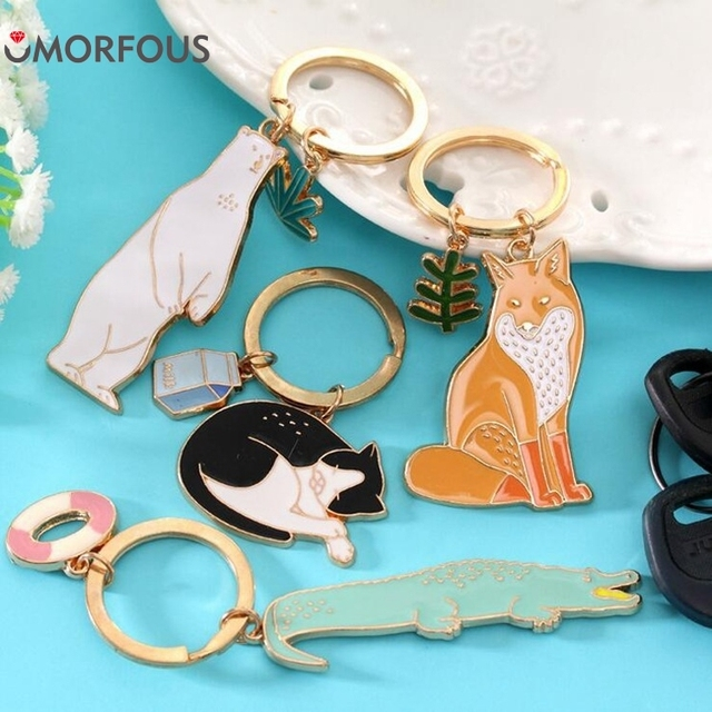 1PC New Arrival Animal Bear Cat Fox Key Ring Key Chains Fashion Painted Jewelry gife For Friend