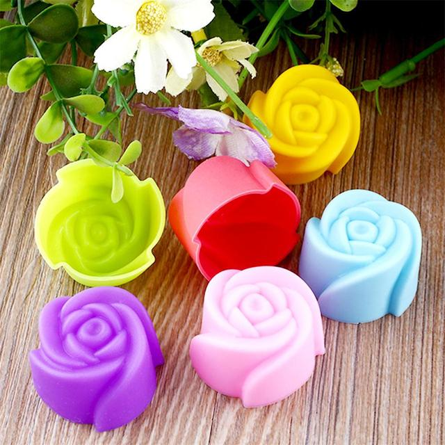 Rose Flower Silicone Cake Chocolate Mold Pan Muffin Cups Soap Mould Sugarpaste