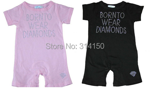 FREE SHIPPING--Baby Wear sets Beautiful Hot Drilling Romper Baby One-Piece Baby Jumpsuit Pink 1pcs