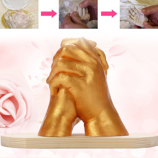 White Beautiful Cloning Powder Model for Gypsum Powder Hands Feet for Fashion Gift 3D Hand Mud Souvenir DIY Hand Mold Couple