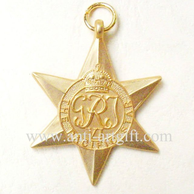 Military Medals Gold 3D  Star Shape Crown Accept customized