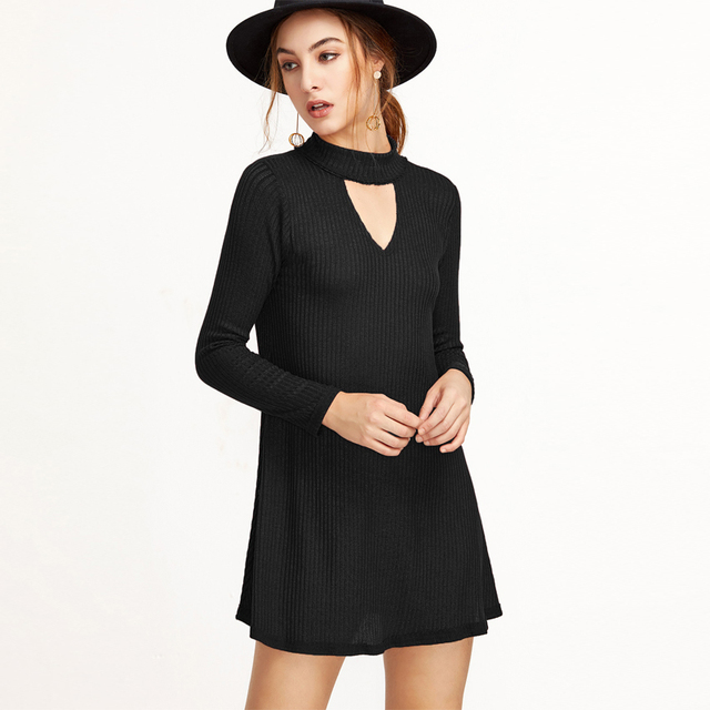 Fall Oversized Elegant Women A Line Dress Hallow Out V Neck Knitting Mini Party Gown Sexy Solid Female Lady Vestido Dresses Robe