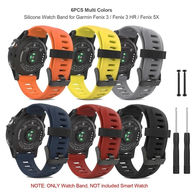 6PCS Soft Silicone Watch Band Strap with Lugs Connector and Screwdriver for Garmin Fenix 3/3 HR/ Fenix 5X Smart Watch Band Strap