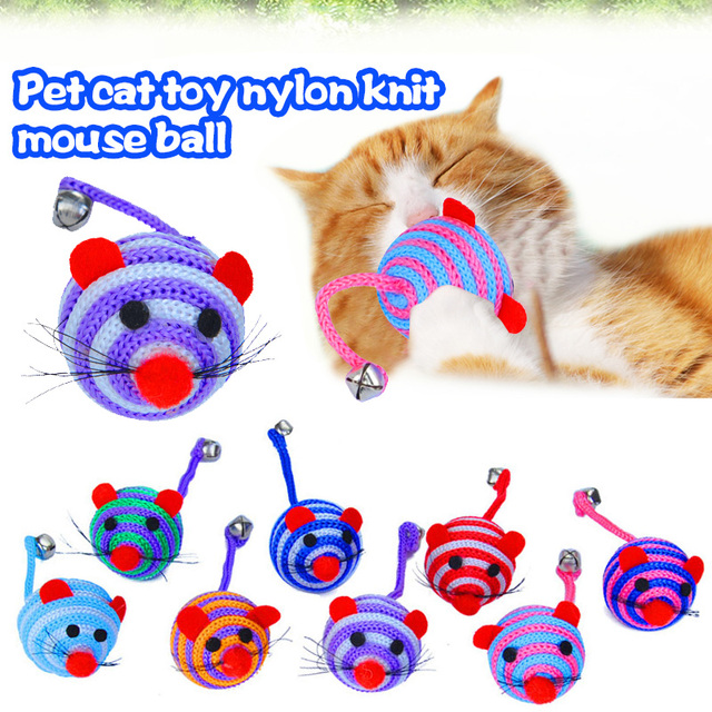 Mouse Straw Ball Nylon Mouse Ball Creative Stripe Nylon Rope Tail with Bells Playing Game Bite Play Toy Long Tail Bell