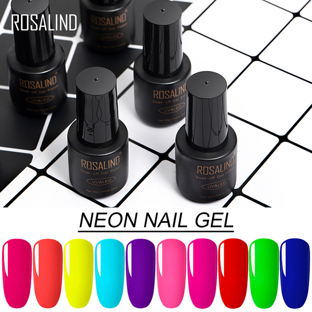 ROSALIND UV Neon Nail Gel Polish Set For Manicure 7ML Nails Hybrid Varnish Semi Permanent Gellak Soak off Primer Base Top Coat