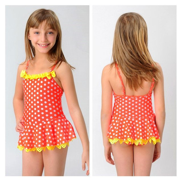 Summer Dress Girls One-piece swimwear bikini swimsuit for girls kids swimsuit Polka dot bathing suits for 2-11 years Free Ship