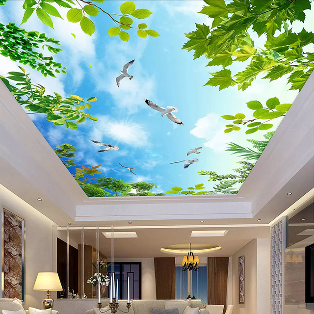 Blue Sky White Clouds Green Leaves Ceiling Murals Wallpaper Living Room Bedroom Ceiling Decoration Mural Custom Photo Wall Paper