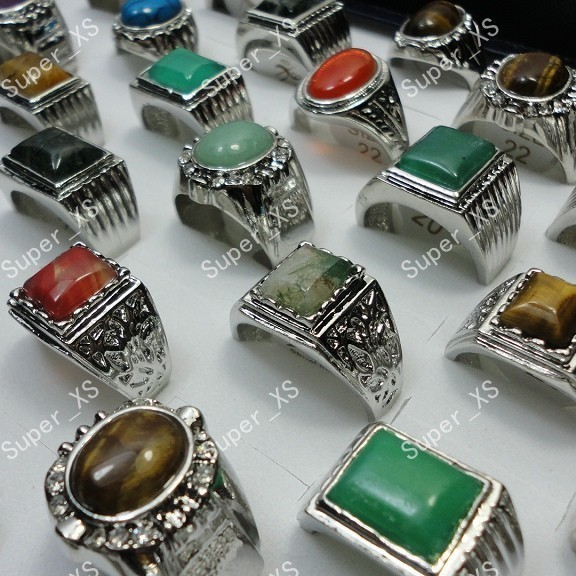 80Pcs Natural Stone and Synthetic Stone Mixed Silver Plated Rings For Men Jewelry Bulk Lots Free Shipping RL248