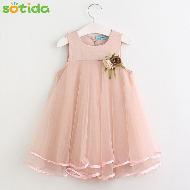 New Girls Dress Summer 2020 Brand Princess Dress lace Sleeveless Appliques Floral fashion Design for Girls Clothes Party Dress