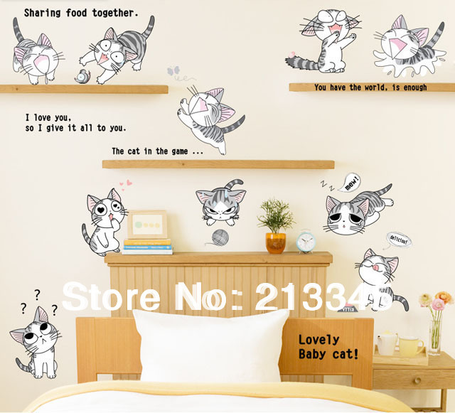 [Fundecor] new products for cat child cartoon wall sticker for kids stickers cartoons animals cats decoration 6400