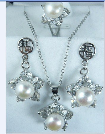 Nobility AOZ lady bridal jewelry Women Crystal white pearl Tibet  pendant Earrings Ring sets