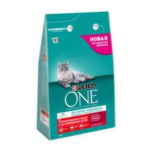Purina ONE dry food for sterilized cats, with beef and wheat, Package, 3 kg