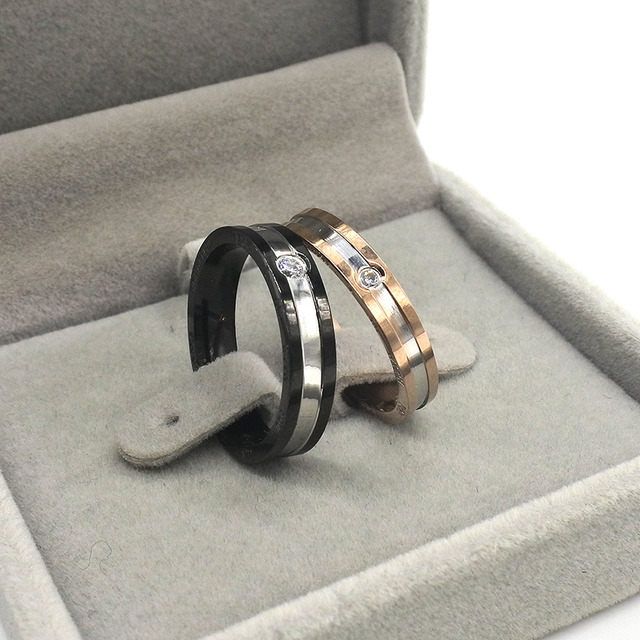 AMUMIU Lover Rings 316L Stainless Steel Fashion Couple Rings Men Women Classic Rings Jewelry Men Rings Lizard HZR111