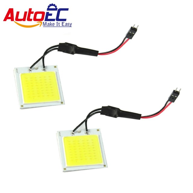 AutoEC 10X 7W COB 48 Chips LED T10 ba9s Festoon Dome adapter Car Interior reading led Vehicle Panel Auto light white #LL27
