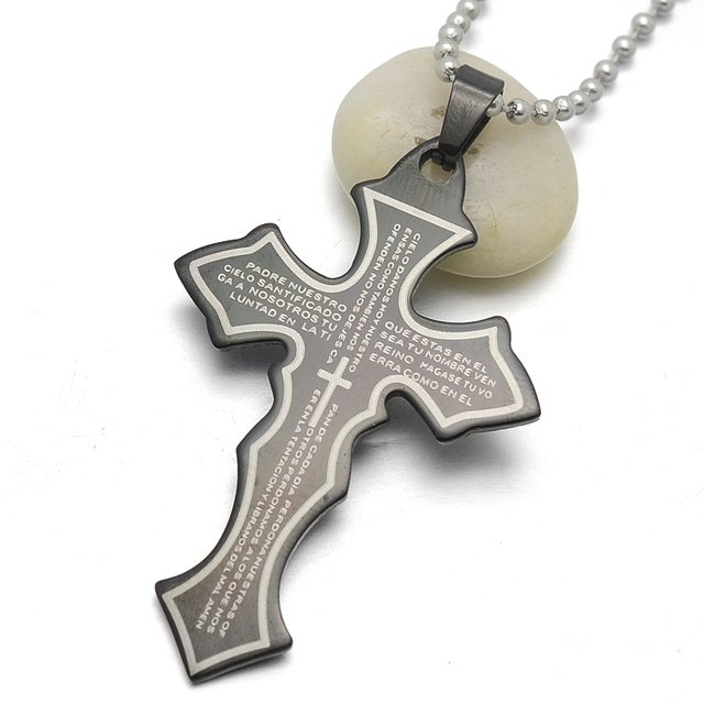 Black Stainless Steel Spanish Lord's Prayer Cross Charm Pendant Necklace  W/ free Chain 60cm Long