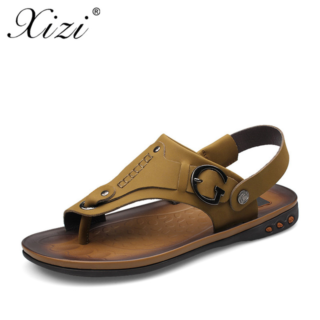 XIZI Summer Men's Sandals High Quality Full Grain Leather Mens Shoes Slippers Beach Walking Casual outdoor men sandal Size 37-46