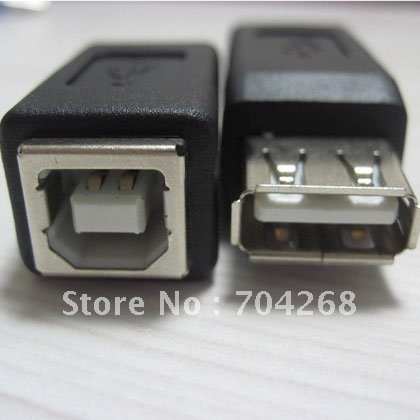 10pcs/lot USB 2.0 A female to B female printer print USB port converter adapter connector retail wholesale