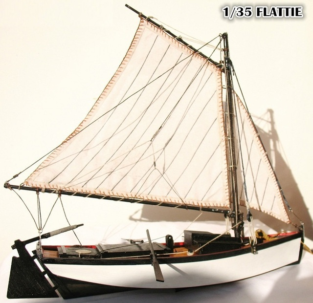 "Free shipping Classic wooden sail boat model scale 1/35 ""FLATTIE"" finshing boat model"