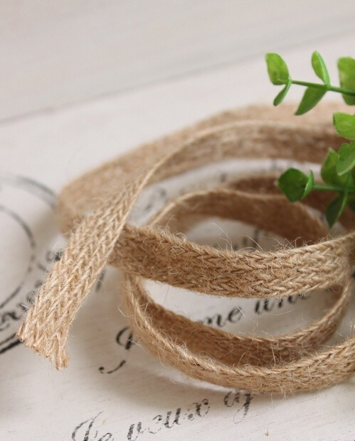 1.2CM 100m hemp belt bow decoration flat hemp ribbon cords self-shade jute cords webbing Free shipping