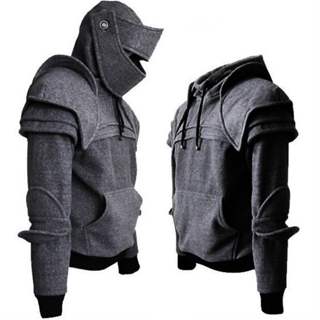 Plus Size Medieval Hooded Sweatshirts Men Warrior Soldier Knight Mask Armor Knee Hoodies Long Sleeve Tracksuits Gray Black S-3XL