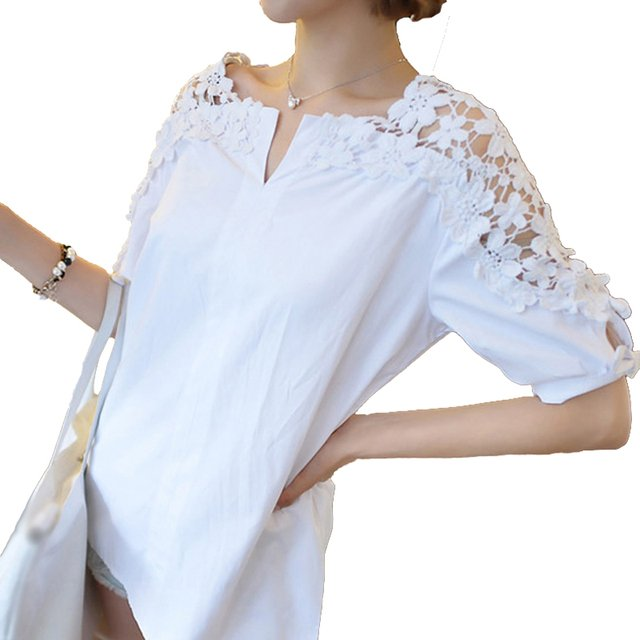 2019 Summer Blouse Women Casual Shirt Tops Lace Elegant Office Ladies Blouses Black White Blusas Plus Size Half Sleeve Loose