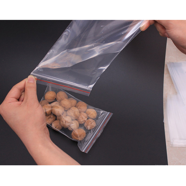 100pcs Resealable Plastic Seal Ziplock Bags Self Adhesive Clear Sealable Poly Polyethylene Kitchen Food Bag Packing Storage