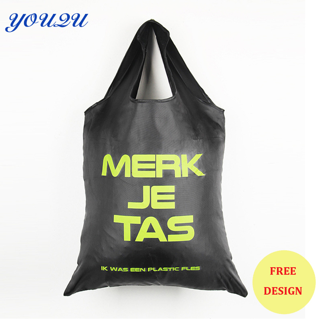 Custom polyester foldable shopping bag with own logo printing